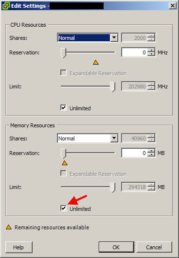 VMware PowerCLI script to set the Memory Resources limit on your VMs