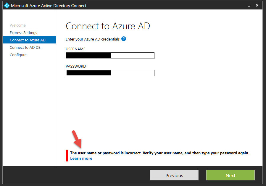 Fixing the Microsoft Azure AD Connect User Name or Password is
