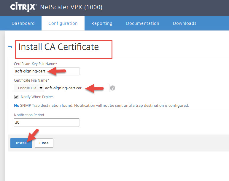 Using ad fs 40 server 2016 azure mfa citrix fas single fqdn install the cert file like any other cert but under the install ca certificate section of your netscaler and not under server certificates yelopaper Choice Image